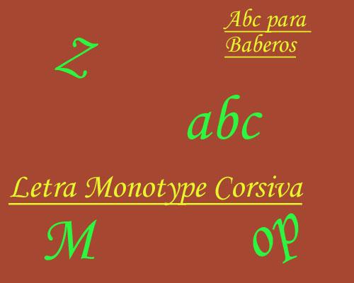 Esquema de Abecedario para Baberos Letra Monotype Corsive en Punto de Cruz