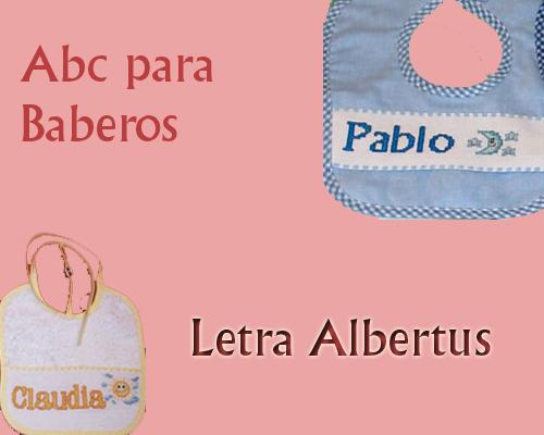 Esquema de Abecedario para Baberos Letra Albertus en Punto de Cruz