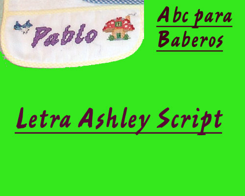 ABC Baberos Letra Ashley Script