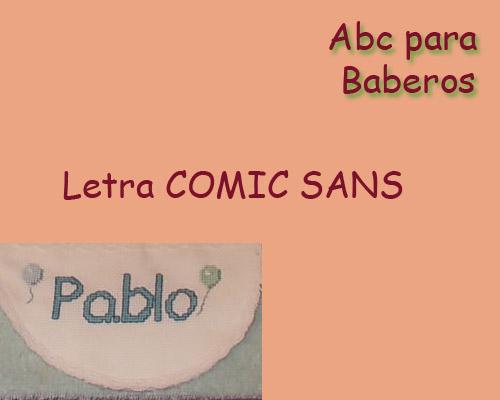 Esquema de Abecedario para Baberos Letra Comic Sans en Punto de Cruz