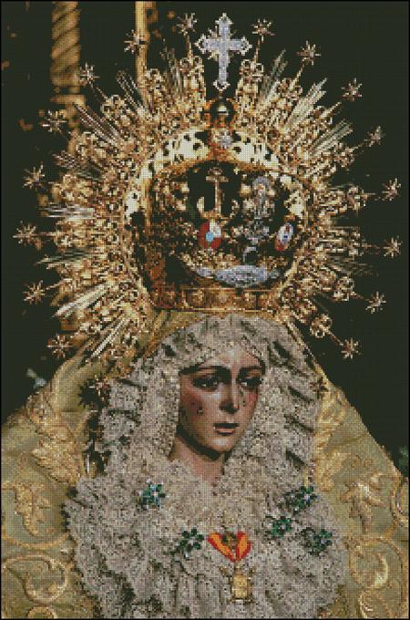 Esquema de la Virgen Macarena en Punto de Cruz