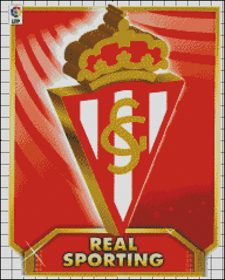 Esquema del Sporting de Gijón en Punto de Cruz