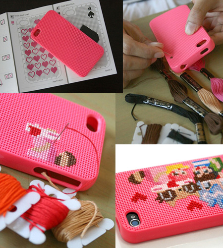 Funda para Iphone 4 en punto de cruz