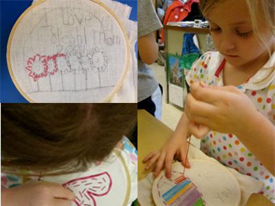 Niñ@s que aprenden a coser y a bordar