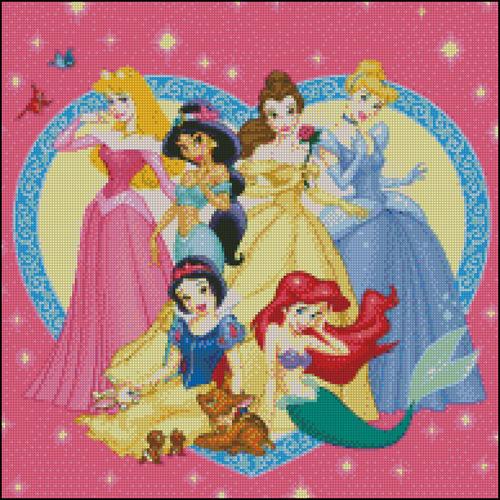 Esquemas de las Princesas Disney en Punto de Cruz (5)