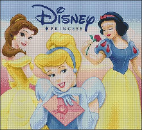 Esquema en punto de cruz de las Princesas Disney